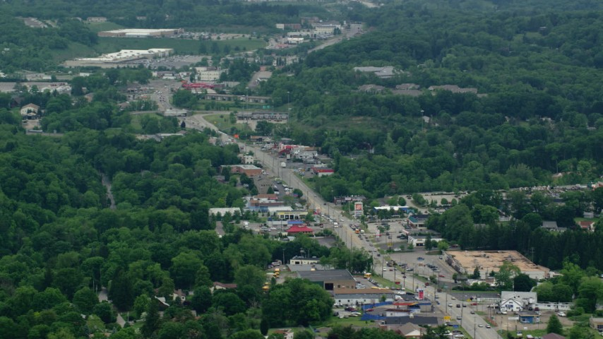 5K stock footage aerial video of shops along Pennsylvania State Route 8, Allison Park, Pennsylvania Aerial Stock Footage | AX106_014