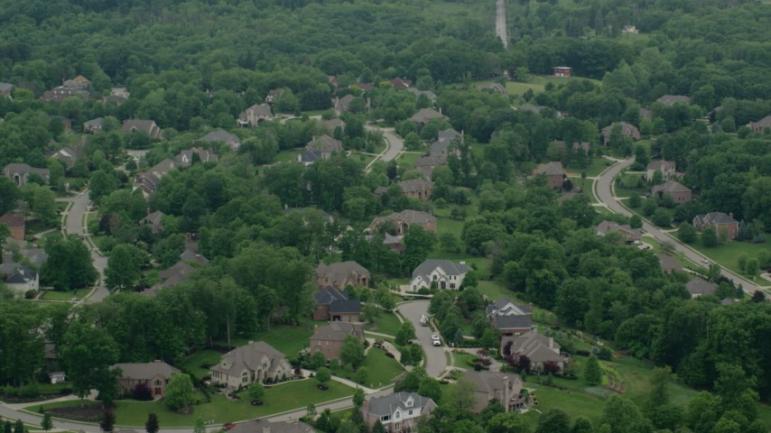 5K stock footage aerial video of a mansion in a quiet neighborhood, Allison Park, Pennsylvania Aerial Stock Footage | AX106_016