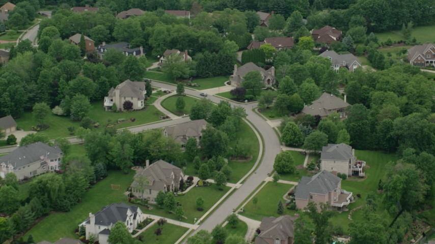 5K stock footage aerial video of an upscale neighborhood, Allison Park, Pennsylvania Aerial Stock Footage | AX106_017