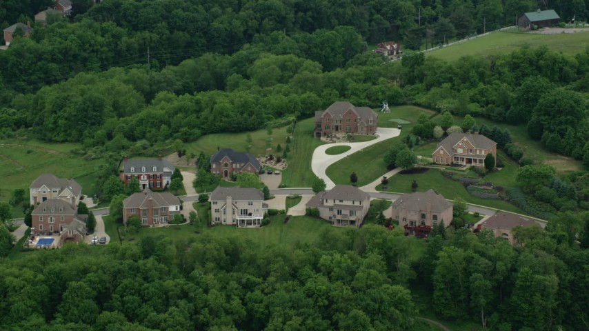 5K stock footage aerial video flying over upscale homes, Wexford, Pennsylvania Aerial Stock Footage | AX106_022