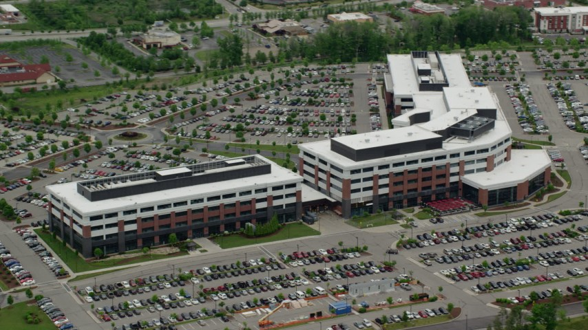 5K stock footage aerial video orbiting a modern office building, Cranberry Township, Pennsylvania Aerial Stock Footage | AX106_024