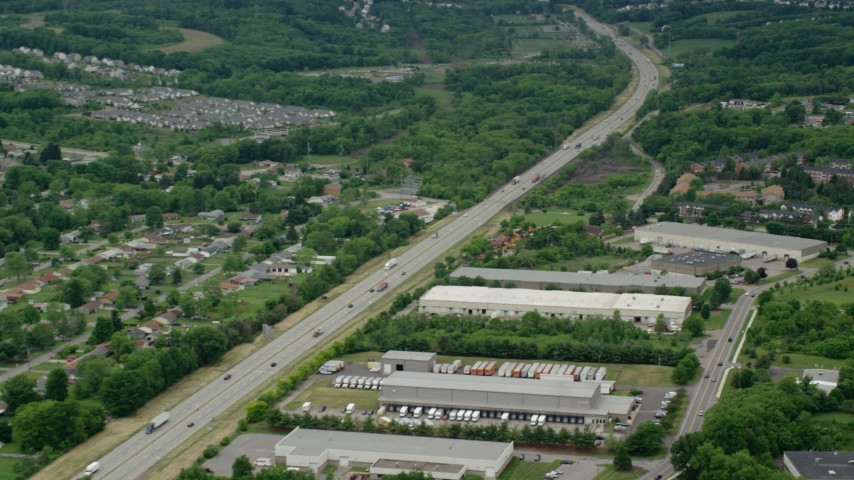 5K stock footage aerial video of light traffic on Interstate 76, Cranberry Township, Pennsylvania Aerial Stock Footage | AX106_026