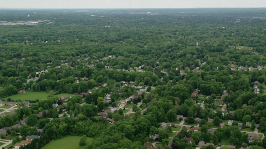 5K stock footage aerial video of residential suburbs, Youngstown, Ohio Aerial Stock Footage | AX106_066