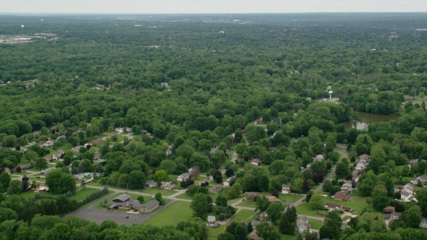 5K stock footage aerial video of suburban neighborhoods, Youngstown, Ohio Aerial Stock Footage | AX106_067