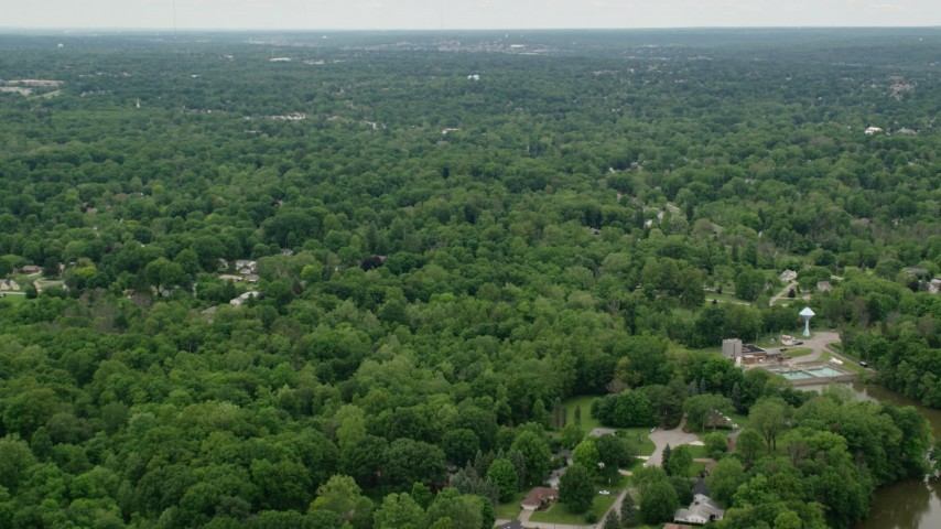 5K stock footage aerial video of suburban neighborhoods, Youngstown, Ohio Aerial Stock Footage | AX106_068