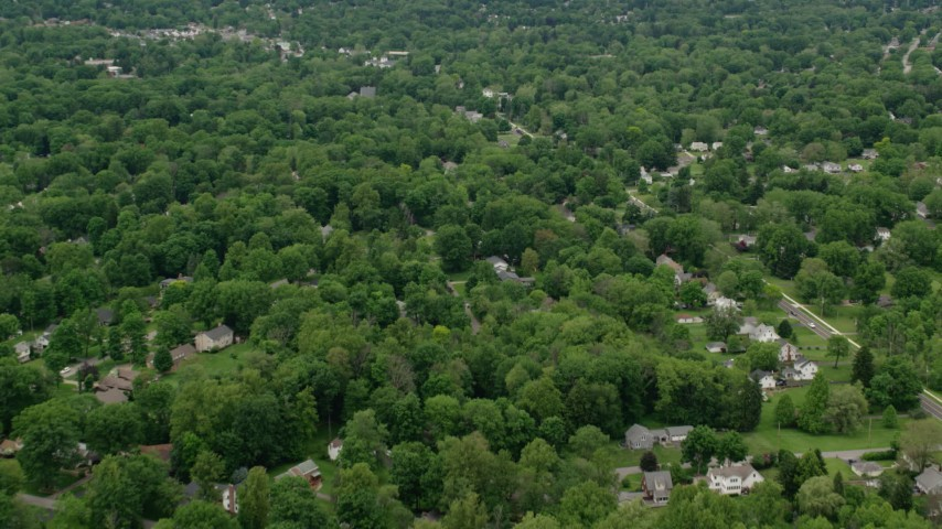 5K stock footage aerial video of suburban neighborhoods, Youngstown, Ohio Aerial Stock Footage | AX106_069