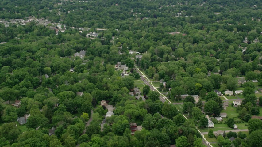5K stock footage aerial video of suburban neighborhoods, Youngstown, Ohio Aerial Stock Footage | AX106_070