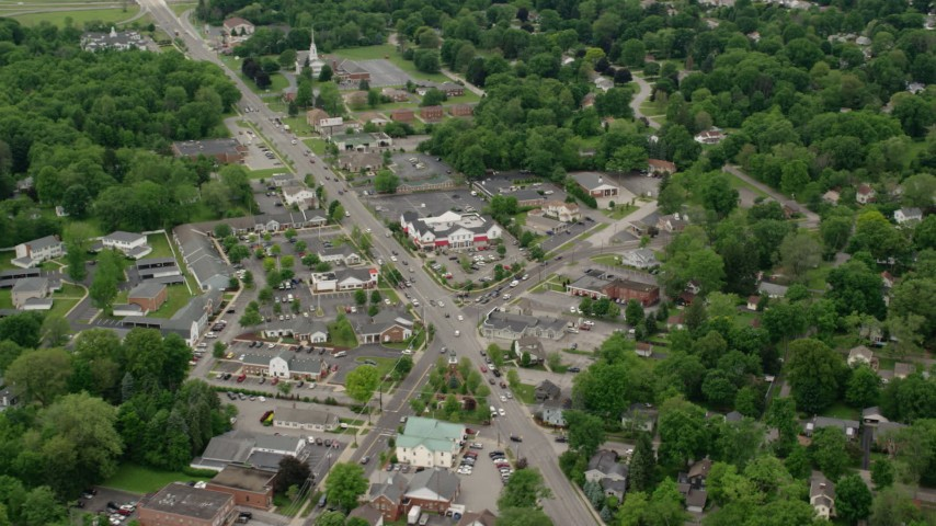 5K stock footage aerial video orbiting shops in a small town, Youngstown, Ohio Aerial Stock Footage | AX106_072