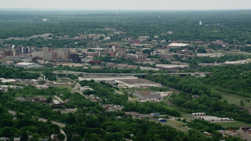 5K stock footage aerial video of Downtown Youngstown, Ohio Aerial Stock Footage | AX106_073
