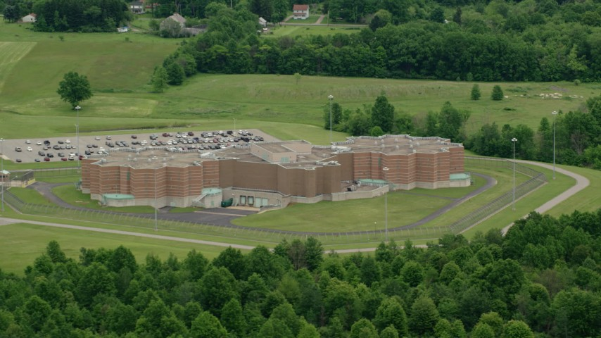 5K stock footage aerial video orbiting Ohio State Penitentiary, Youngstown, Ohio Aerial Stock Footage | AX106_079
