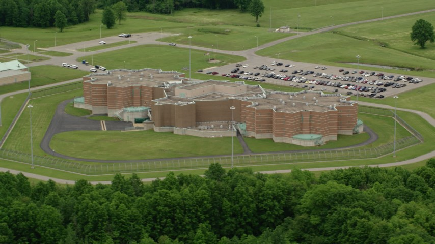5K stock footage aerial video orbiting Ohio State Penitentiary, Youngstown, Ohio Aerial Stock Footage | AX106_081