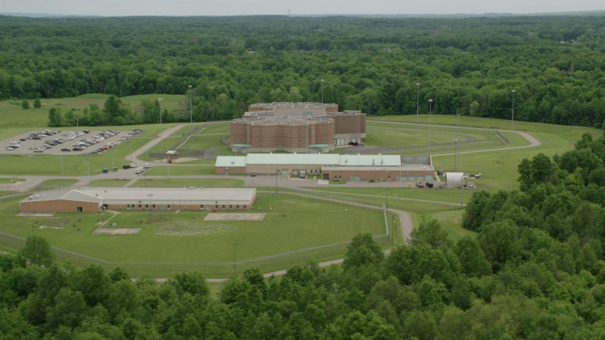 5K stock footage aerial video orbiting Ohio State Penitentiary, Youngstown, Ohio Aerial Stock Footage | AX106_090