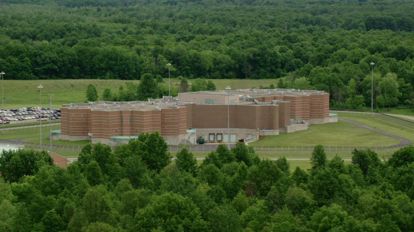 5K stock footage aerial video of Ohio State Penitentiary, Youngstown, Ohio Aerial Stock Footage | AX106_091