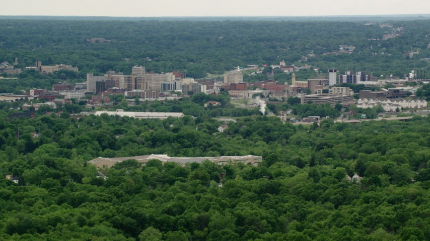 5K stock footage aerial video of high rises, Downtown Youngstown, Ohio Aerial Stock Footage | AX106_093