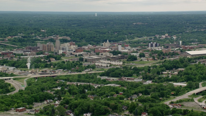 5K stock footage aerial video orbiting the campus of Youngstown State University, Ohio Aerial Stock Footage | AX106_095