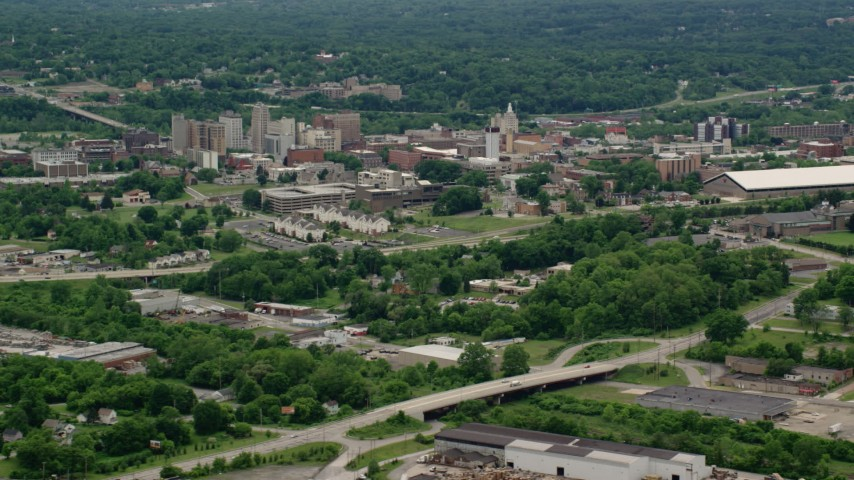 5K stock footage aerial video of campus buildings at Youngstown State University, Ohio Aerial Stock Footage | AX106_096