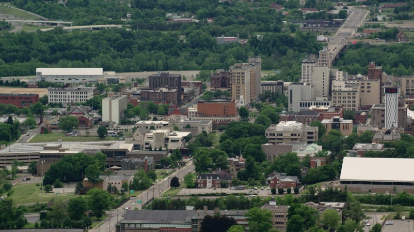 5K stock footage aerial video orbiting the campus of Youngstown State University, Ohio Aerial Stock Footage | AX106_098