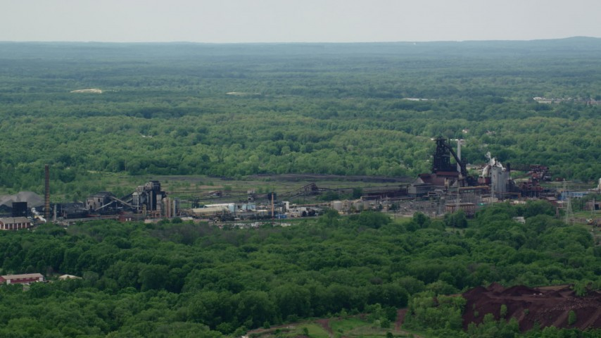 5K stock footage aerial video of a steel and mining factory in Warren, Ohio Aerial Stock Footage | AX106_112