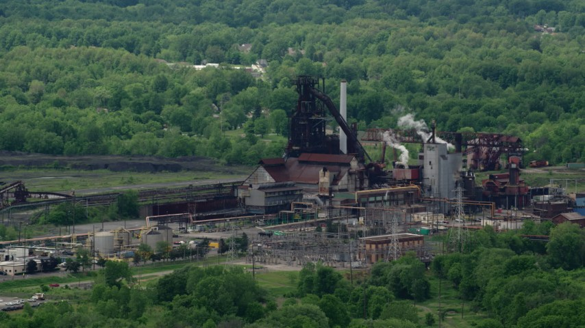5K stock footage aerial video of a steel and mining factory in Warren, Ohio Aerial Stock Footage | AX106_113