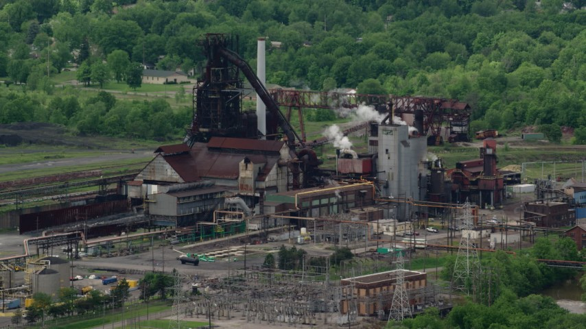 5K stock footage aerial video of a steel and mining factory in Warren, Ohio Aerial Stock Footage | AX106_114
