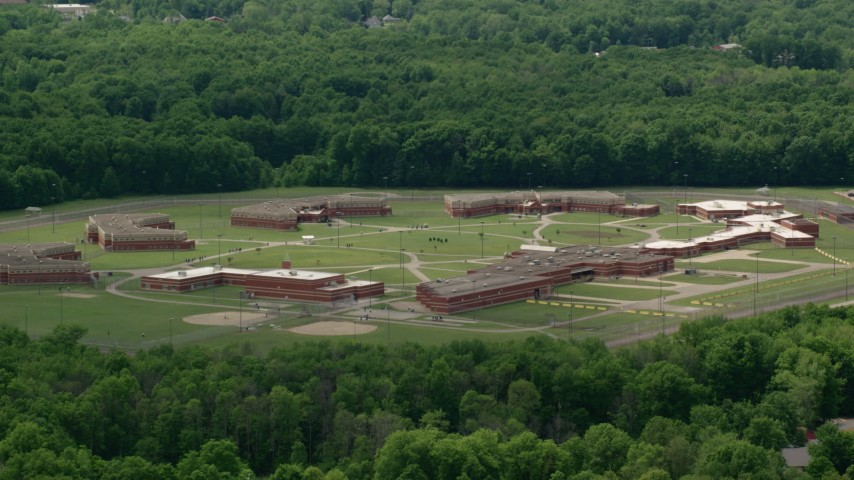 5K stock footage aerial video of Trumbull Correctional Institute Prison in Leavittsburg, Ohio Aerial Stock Footage | AX106_119