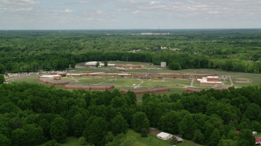 5K stock footage aerial video of Trumbull Correctional Institute Prison Complex in Leavittsburg, Ohio Aerial Stock Footage | AX106_127