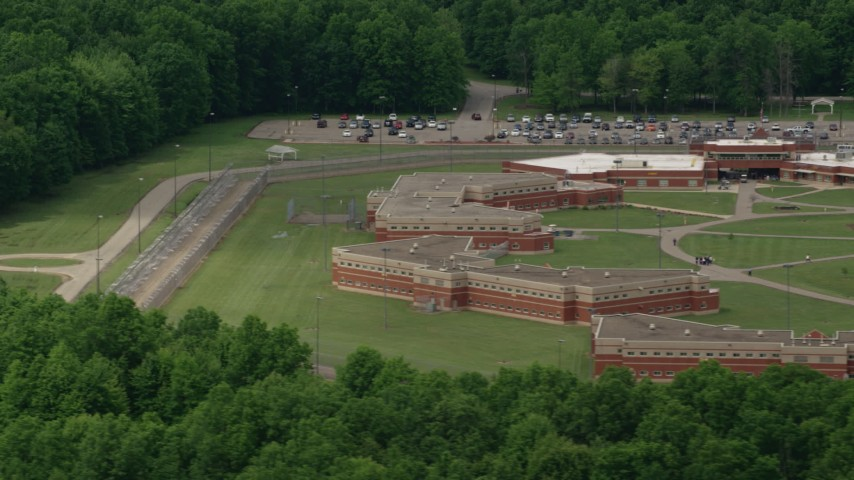 5K stock footage aerial video of Trumbull Correctional Institute Prison Complex in Leavittsburg, Ohio Aerial Stock Footage | AX106_132
