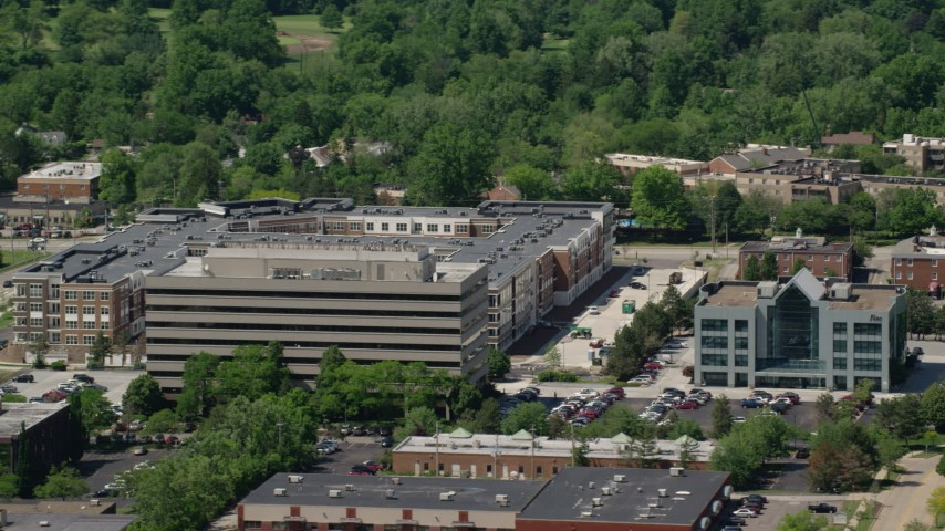 5K stock footage aerial video of an office building in Beachwood, Ohio Aerial Stock Footage | AX106_184