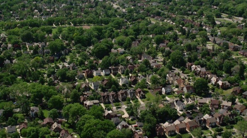 5K stock footage aerial video flying over suburban residential Neighborhoods, Cleveland, Ohio Aerial Stock Footage | AX106_187