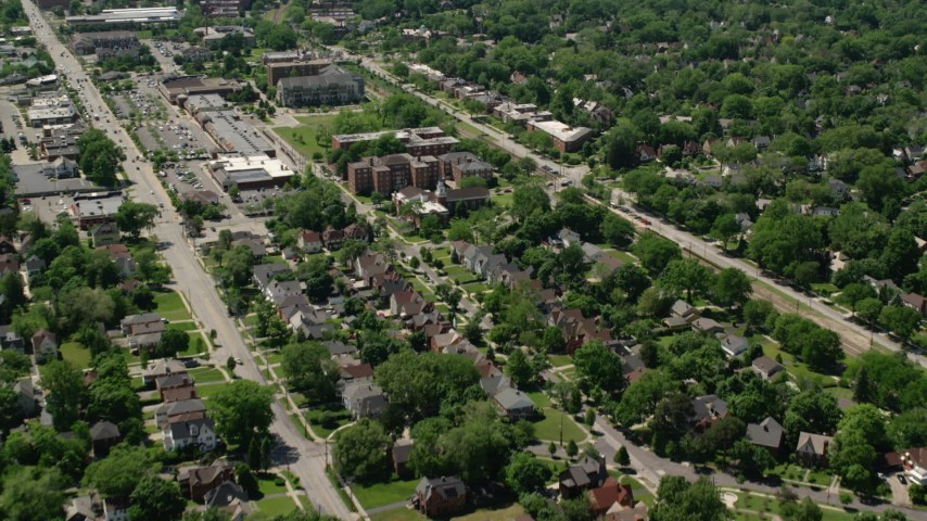 5K stock footage aerial video flying over apartment buildings and suburban homes in Cleveland, Ohio Aerial Stock Footage | AX106_188