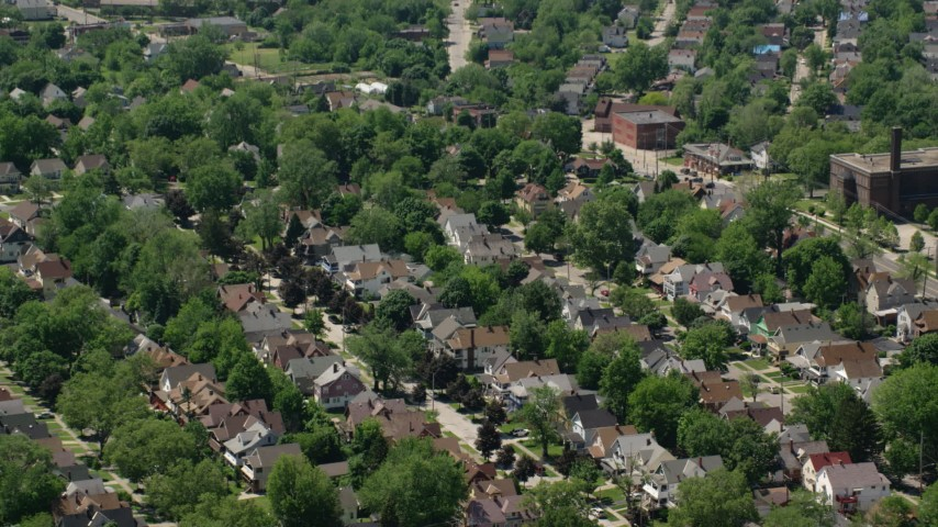 5K aerial stock footage video of suburban residential neighborhoods in Cleveland, Ohio Aerial Stock Footage | AX106_192