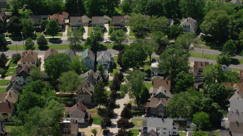 5K stock footage aerial video of suburban streets and homes in Cleveland, Ohio Aerial Stock Footage | AX106_193