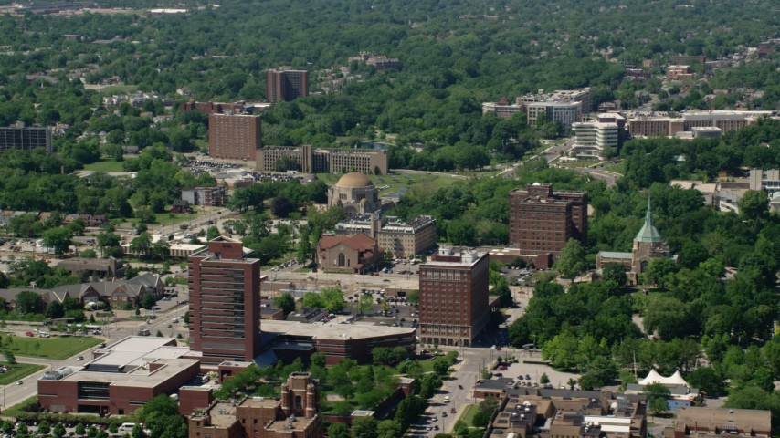 5K stock footage aerial video orbiting campus of Case Western Reserve University, Cleveland, Ohio Aerial Stock Footage AX106_194