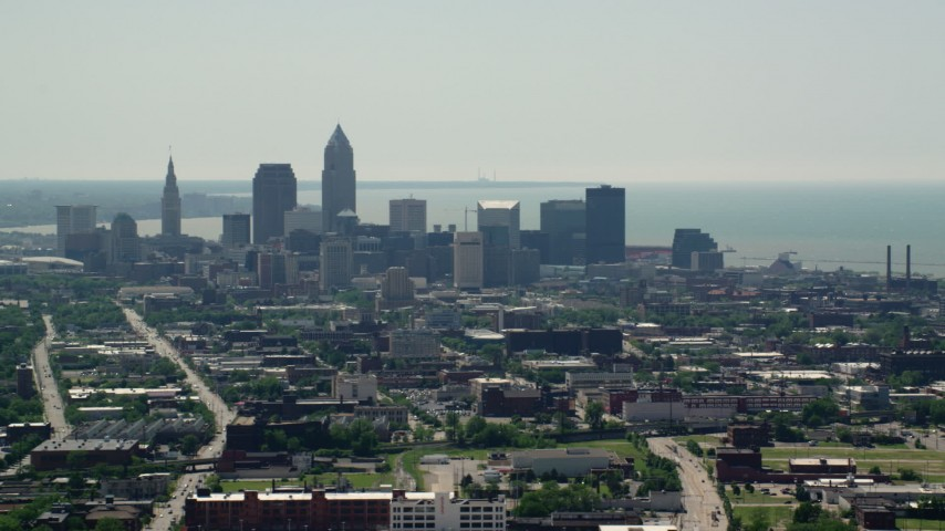 5K aerial video of skyscrapers in Downtown Cleveland, Ohio Aerial Stock Footage | AX106_195
