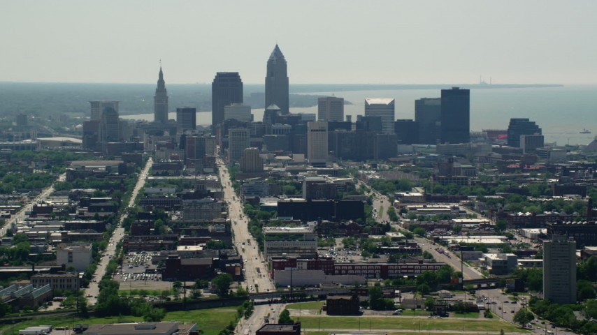 5K stock footage aerial video of skyscrapers in Downtown Cleveland, Ohio Aerial Stock Footage | AX106_196