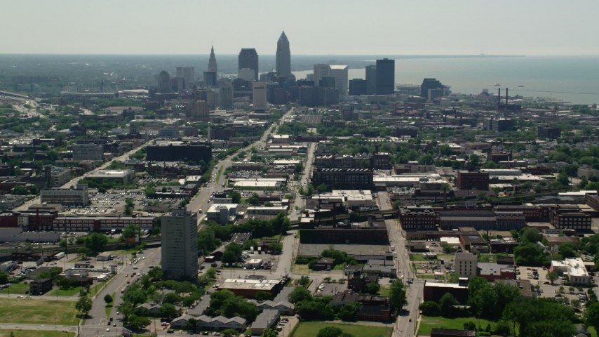 5K stock footage aerial video of skyscrapers in Downtown Cleveland, Ohio Aerial Stock Footage | AX106_197
