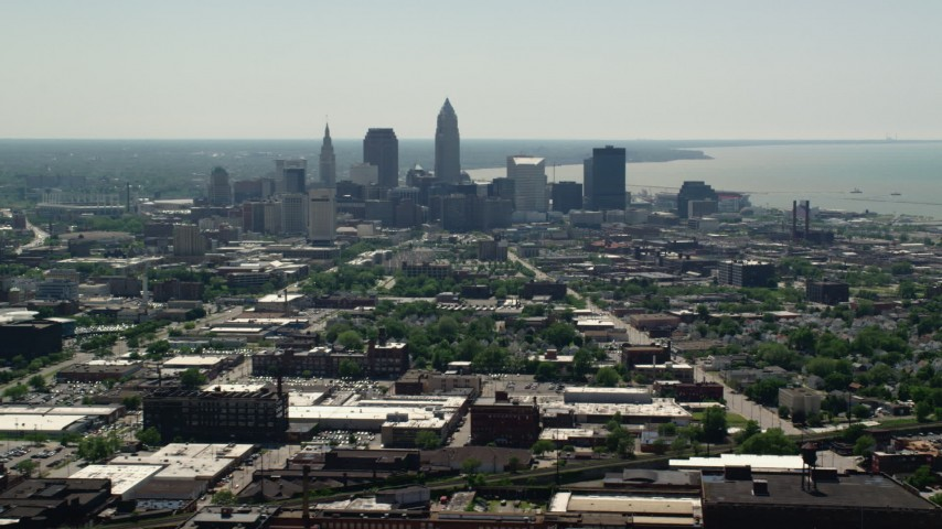 5K aerial video of skyscrapers in Downtown Cleveland, Ohio Aerial Stock Footage | AX106_198