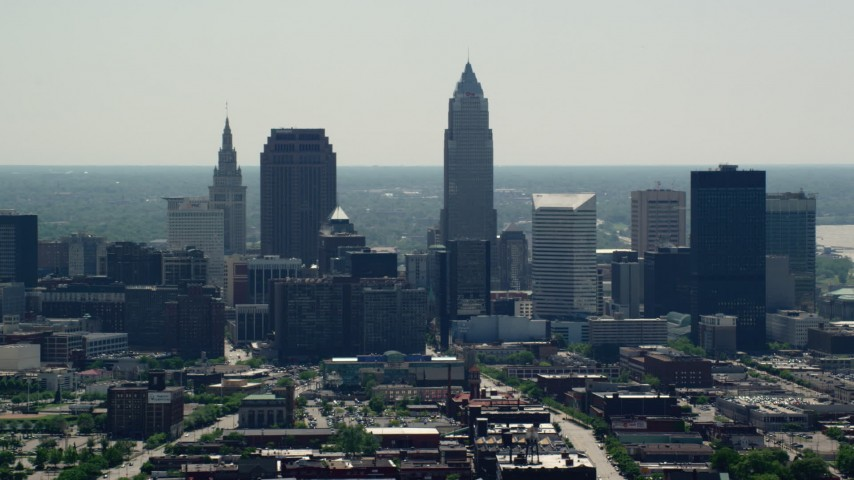 5K stock footage aerial video of skyscrapers in Downtown Cleveland, Ohio Aerial Stock Footage | AX106_199