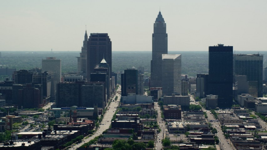 5K aerial video of skyscrapers in Downtown Cleveland, Ohio Aerial Stock Footage | AX106_200