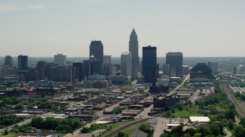 5K stock footage aerial video of skyline of Downtown Cleveland, Ohio Aerial Stock Footage | AX106_201