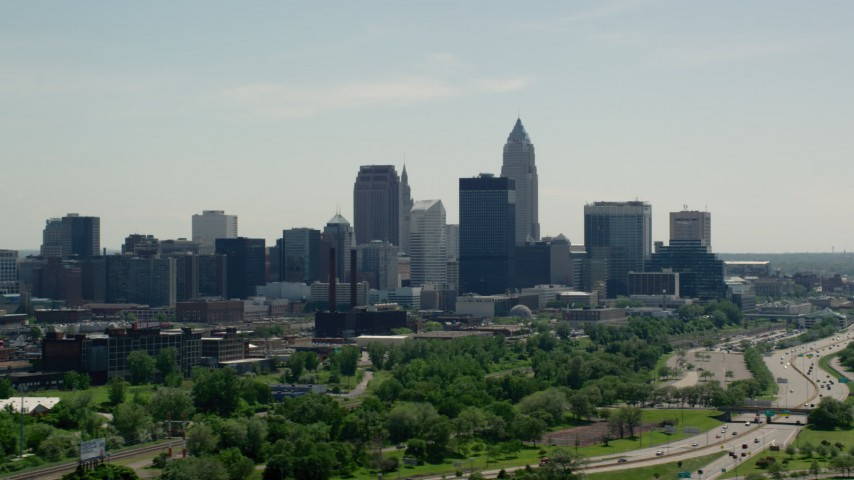 5K stock footage aerial video of the skyline in Downtown Cleveland, Ohio Aerial Stock Footage AX106_202