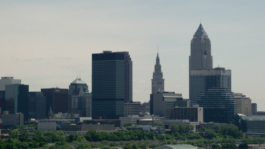 5K stock footage aerial video of skyscrapers in Downtown Cleveland, Ohio Aerial Stock Footage | AX106_203