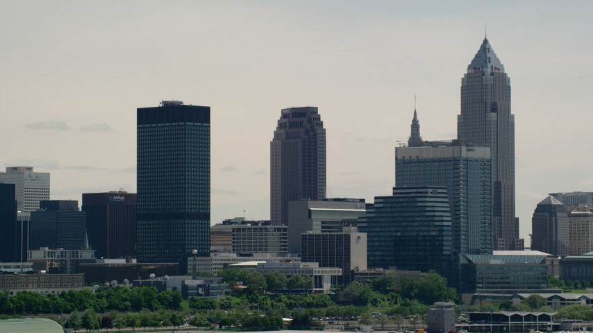 5K aerial video of skyscrapers in Downtown Cleveland, Ohio Aerial Stock Footage | AX106_204