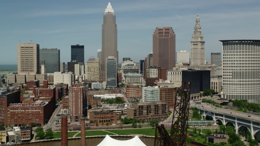 5K stock footage aerial video of skyscrapers and federal courthouse in Downtown Cleveland, Ohio Aerial Stock Footage | AX106_216