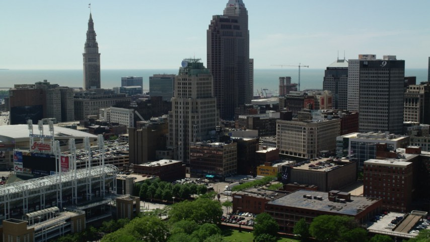 5K aerial video of skyscrapers and high-rises in Downtown Cleveland, Ohio Aerial Stock Footage | AX106_223