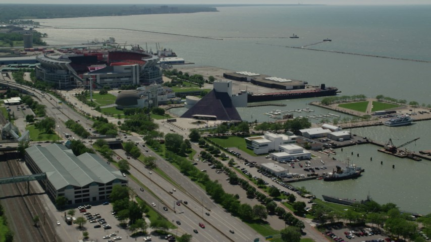5K aerial video of the Rock and Roll Hall of Fame in Downtown Cleveland, Ohio Aerial Stock Footage | AX106_227