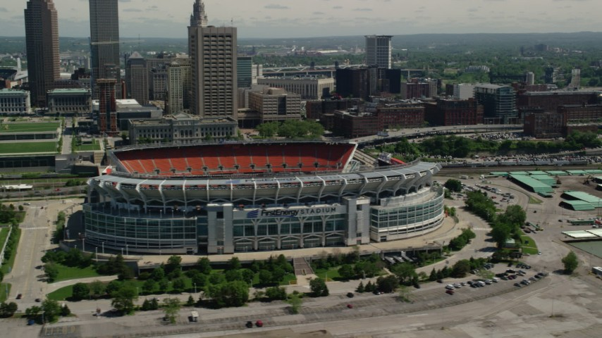 5K aerial video orbiting FirstEnergy Stadium, formerly Cleveland Browns Football Stadium in Downtown Cleveland, Ohio Aerial Stock Footage AX106_230