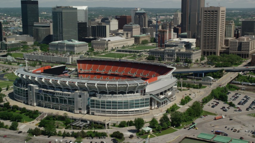 5K stock footage aerial video of FirstEnergy Stadium, formerly Cleveland Browns Stadium in Downtown Cleveland, Ohio Aerial Stock Footage | AX106_231