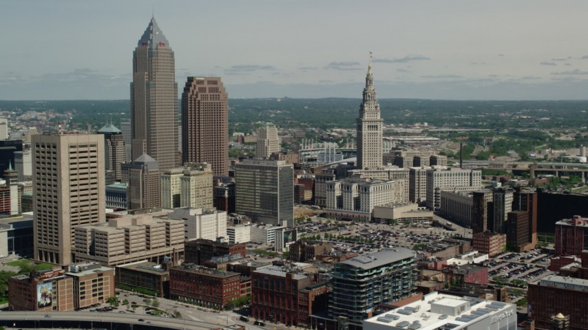 5K stock footage aerial video orbiting skyscrapers in Downtown Cleveland, Ohio Aerial Stock Footage | AX106_232