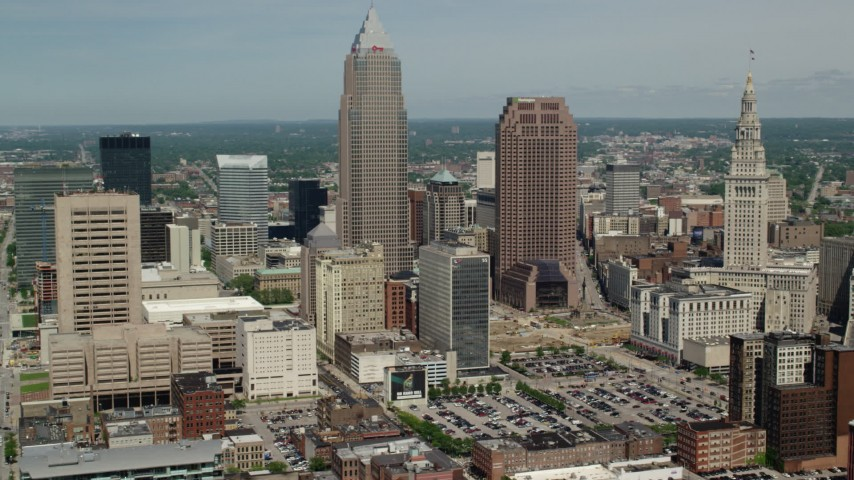 5K stock footage aerial video orbiting Key Tower and Skyscrapers in Downtown Cleveland, Ohio Aerial Stock Footage | AX106_233